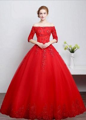 Brautkleid aus Spitze schulterfrei Elfenbein A-Linie Lace Up Half Sleeve Pailletten bodenlangen Brautkleid_4