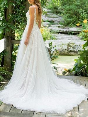 Simple Wedding Dress 2021 A Line V Neck Sleeveless Floor Length Beach Bridal Dresses With Train_2