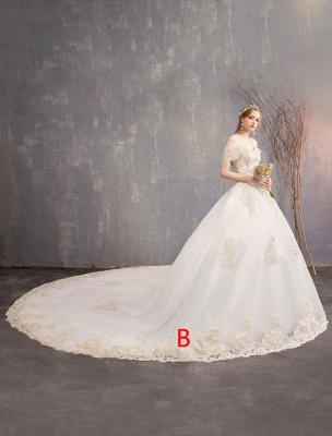 Prinzessin Brautkleid Elfenbein Spitzenapplikation Schulterfrei Kurzarm Brautkleid_2