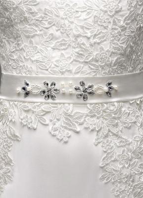 Etui-Linie Lange Ärmel Illusion Zurück V-Ausschnitt Brautkleid Mit Strass Schärpe_8