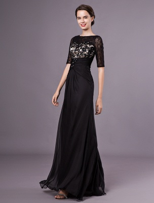 Schwarze Abendkleider Halbarm Spitze Perlen Chiffon Lange Abendkleider Hochzeitsgast Kleid_5