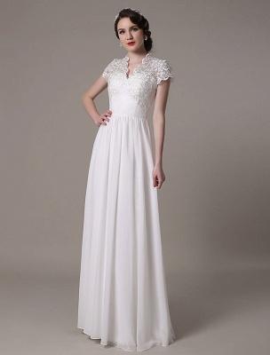 Sheath Wedding Dress V-Neck Lace Chiffon Pleated Floor Length Bridal Dress Exclusive_6