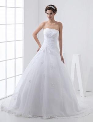 Robes de mariée blanches sans bretelles robe de mariée dentelle perles côté robe de mariée drapée avec train_3