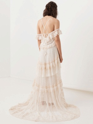 Boho Wedding Dress Suit 2021 V Neck Floor Length Lace Multilayer Bridal Gown Dress And Outfit_8