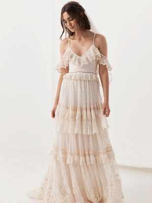 Boho Wedding Dress Suit 2021 V Neck Floor Length Lace Multilayer Bridal Gown Dress And Outfit_7