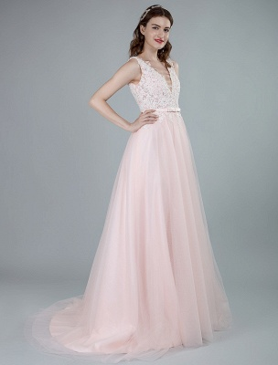 Wedding Dresses A Line Sleeveless Bows V Neck Bridal Dresses With Court Train Exclusive_7