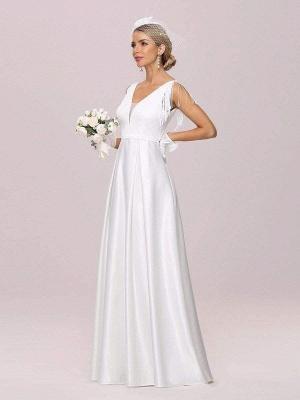 White Intage Wedding Dress V-Neck Sleeveless Natural Waist Satin Fabric Floor-Length Fringe Traditional Dresses For Bride_4
