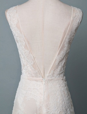Simple Wedding Dress Lace A Line V Neck Sleeveless Beaded Floor Length Feather Bridal Gowns_6