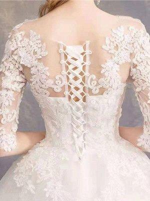 Brautkleider Eric White Jewel Neck Half-Sleeve Soft Tüll Lace Up Bodenlangen Brautkleider_8