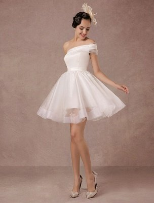 Short Wedding Dress Organza One-Shoulder A-Line Backless Satin Mini Summer Wedding Dresses 2021_3