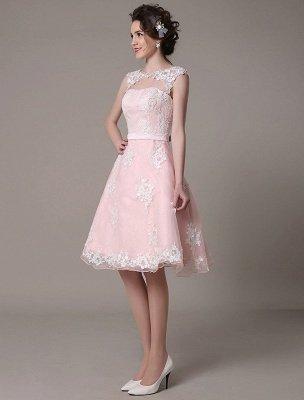 Brautkleid aus Spitze mit Cut-Out Knielang A-Linie Brautkleid mit Satinschleife Exklusiv_6