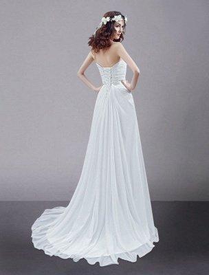 White Wedding Dress Strapless Twisted Split Rhinestone Chiffon Wedding Gown_4