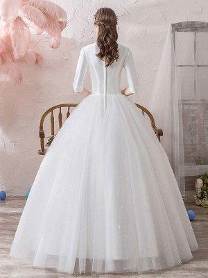 Vintage Brautkleider Prinzessin Stehkragen Halbarm Bodenlangen Tüll Traditionelle Brautkleider_4