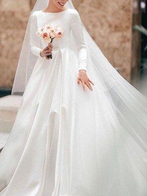 Vintage Brautkleid Jewel Neck Ärmellos Natürliche Taille Satin Stoff Kapelle-Schleppe Plissee Traditionelle Kleider Für Die Braut_1