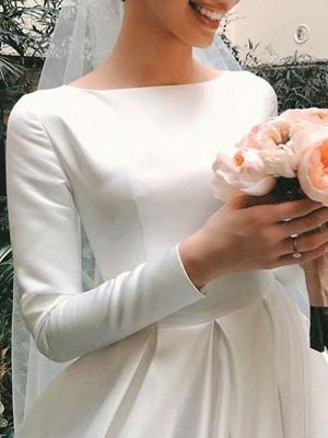 Vintage Brautkleid Jewel Neck Ärmellos Natürliche Taille Satin Stoff Kapelle-Schleppe Plissee Traditionelle Kleider Für Die Braut_5