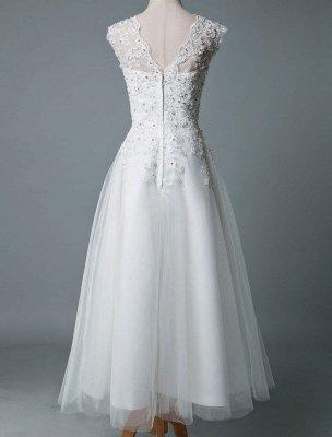 Robe de mariée vintage thé longueur bijou cou sans manches une ligne taille naturelle Tulle courte robe de mariée exclusive_3