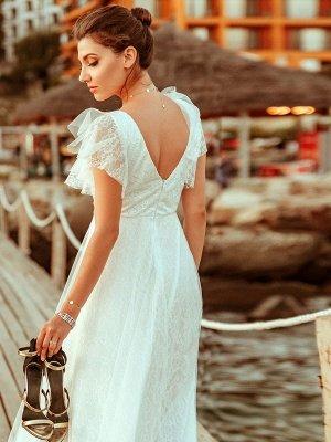 Einfache Hochzeitskleid 2021 A Lne V-Ausschnitt Kurzarm Bodenlangen Tüll Strand Hochzeit Kleider Brautkleider_5