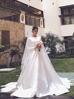 Vintage Brautkleid Jewel Neck Ärmellos Natürliche Taille Satin Stoff Kapelle-Schleppe Plissee Traditionelle Kleider Für Die Braut_2