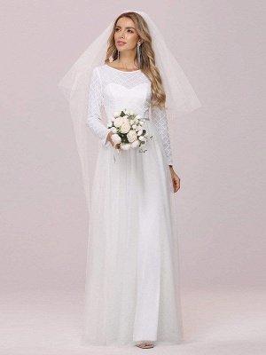 Vestido de novia blanco simple Cuello joya Mangas largas Cintura natural Una línea de tul Vestidos de novia largos_5
