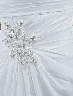 White Wedding Dress Strapless Twisted Split Rhinestone Chiffon Wedding Gown_7