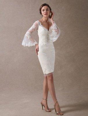 Boho Wedding Dresses Short Sheath Beach Bridal Dress Bell Sleeve Lace Applique V Neck Knee Length Summer Wedding Gowns Exclusive_1