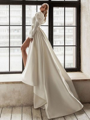 Vintage Wedding Dress White Bridal Dresses Long Sleeves Wedding Dress V Neck A Line With Train Bridal Gowns_2
