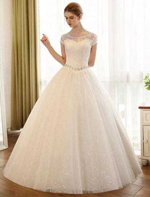 Prinzessin Ballkleid Brautkleider Spitze Pailletten Brautkleid Elfenbein Perlen Schärpe Backless Brautkleider_1