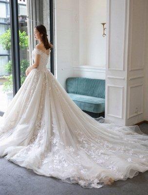 Prinzessin Ballkleid Brautkleider Spitze bestickt Schulterfrei Royal Brautkleid mit Zug_2