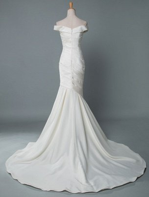 Vintage Wedding Dress Mermaid Off The Shoulder Sleeveless Pleated Satin Fabric With Train Traditional Dresses For Bride_2