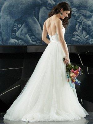 Robe de mariée blanche conçue décolleté sans manches dos nu fermeture éclair à plusieurs niveaux avec train tulle longues robes de mariée_7