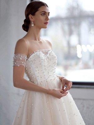 Robe de mariée blanche A-Line Robes de mariée Robe de mariée en tulle perlé_4