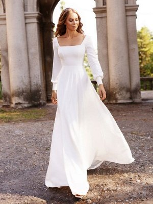 White Simple Wedding Dress Satin Fabric Square Neck Long Sleeves A-Line Floor Length Bridal Gowns_3