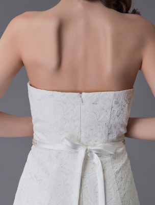 Einfache Brautkleider Spitze High Low Trägerlose Schärpe Asymmetrisches Kurzes Brautkleid Exklusiv_10