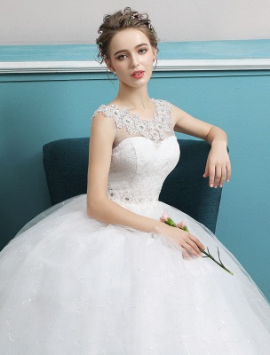 Princess Ball Gown Wedding Dresses Tulle Backless Ivory Beading Floor Length Bridal Dress_5