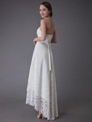 Einfache Brautkleider Spitze High Low Trägerlose Schärpe Asymmetrisches Kurzes Brautkleid Exklusiv_8