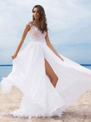 Vestidos de novia boho 2021 Gasa Cuello en V Mangas cortas Una línea Vestidos de novia con frente dividido para bodas en la playa_3