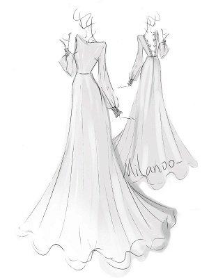Einfaches Hochzeitskleid Lycra Spandex Bateau-Ausschnitt mit langen Ärmeln Spitze A-Linie Brautkleider_9