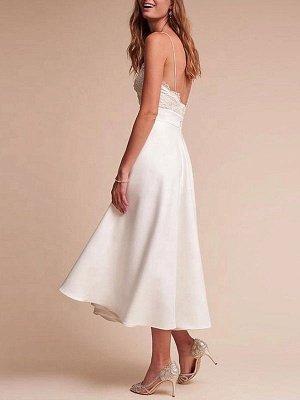 Robe de mariée courte col en V sans manches une ligne longueur de thé bretelles robes de mariée_2