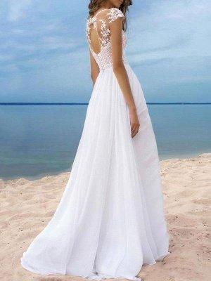 Vestidos de novia boho 2021 Gasa Cuello en V Mangas cortas Una línea Vestidos de novia con frente dividido para bodas en la playa_2
