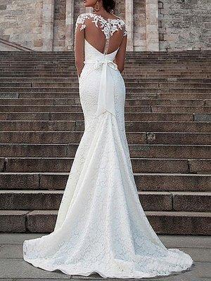 Vestido de novia Encaje Cuello de ilusión Mangas largas Vestidos de novia de sirena con cola de corte_2