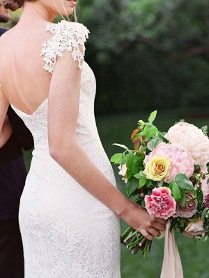 Einfache Brautkleider 2021 Lace Sweetheart Off The Shoulder Mermaid Brautkleid mit Zug für Boho-Hochzeit_4