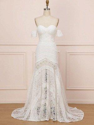 Weißes Spitze Brautkleid bodenlangen Mantel Ärmellos Spitze Schatz-Ausschnitt Brautkleider Zug Kleid_3