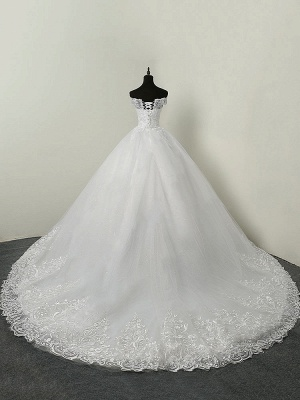 Wedding Dresses 2021 Ball Gown Off The Shoulder Short Sleeve Natural Waist Lace Applique Tulle Bridal Dress_2