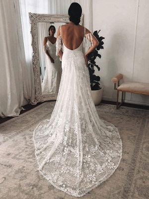 Lace Wedding Dress With Train Ivory A-Line Sleeveless V-Neck Backless Bridal Gowns_4