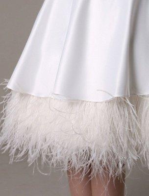 Vestido de novia de corte A hasta la rodilla Vestido de novia con lazo de satén escalonado con plumas Exclusivo_7
