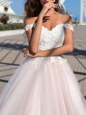 Brautkleid Prinzessin Silhouette Hofzug Schulterfrei Ärmellos Natürliche Taille Spitze Tüll Brautkleider_3