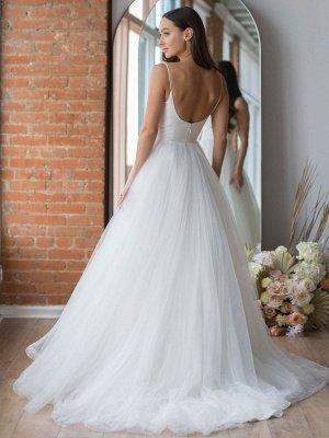 Robe de mariée blanche conçue décolleté sans manches dos nu fermeture éclair à plusieurs niveaux avec train tulle longues robes de mariée_4
