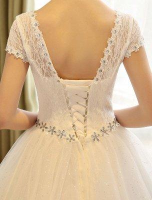 Prinzessin Ballkleid Brautkleider Spitze Pailletten Brautkleid Elfenbein Perlen Schärpe Backless Brautkleider_7