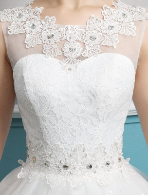 Princess Ball Gown Wedding Dresses Tulle Backless Ivory Beading Floor Length Bridal Dress_7
