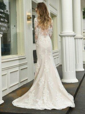Vestido de novia boho Cuello en V Sin mangas Cintura natural Vestidos de novia de encaje con tren_9